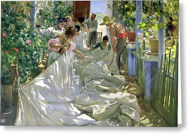 Torn Paintings Greeting Cards - Mending the Sail Greeting Card by Joaquin Sorolla y Bastida