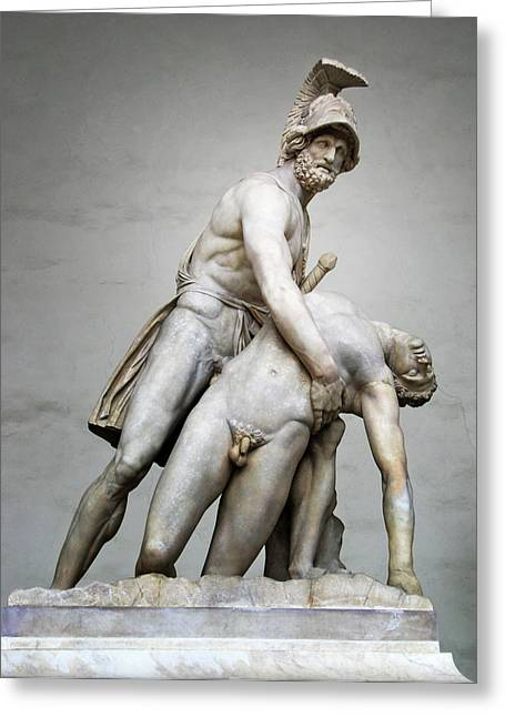 Historical Pictures Greeting Cards - Menelaus and Patroclus Sculpture Greeting Card by Artecco Fine Art Photography