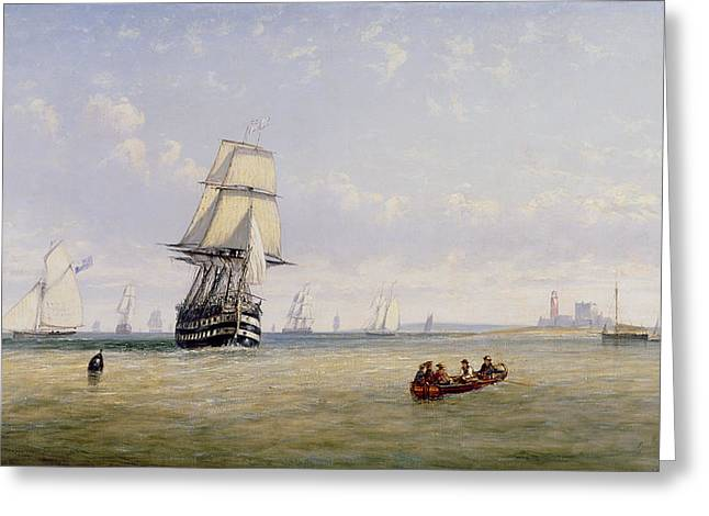 Schooner Paintings Greeting Cards - Meno War Schooners and Royal Navy Yachts Greeting Card by Claude T Stanfield Moore