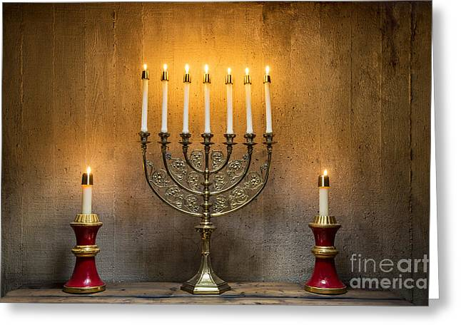 Hanukkah Greeting Cards - Menorah Greeting Card by John Greim