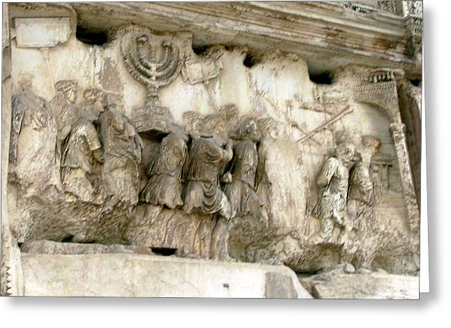 Recently Sold -  - Slavery Digital Art Greeting Cards - Menorah on the Arch in Roma Greeting Card by Mindy Newman