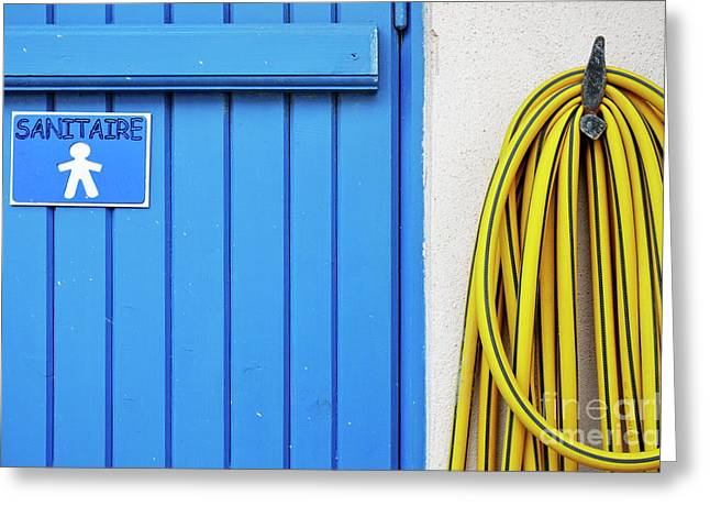 Public Restroom Greeting Cards - Mens closed bathroom door and hose Greeting Card by Sami Sarkis