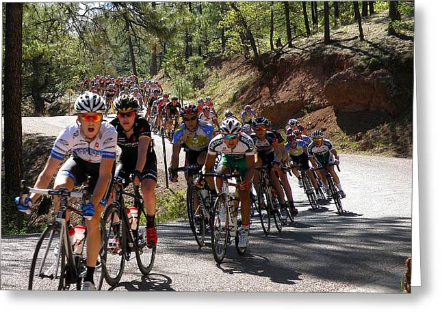 Tour Of The Gila Greeting Cards - Mens Pro Peloton Takes the Curves Greeting Card by Feva  Fotos