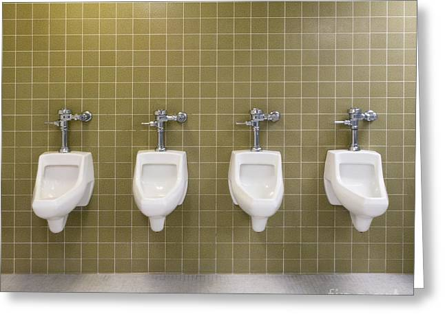 Urinal Greeting Cards - Mens Restroom Greeting Card by Andersen Ross