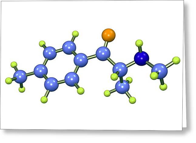 Psychological Background Greeting Cards - Mephedrone Molecule Greeting Card by Dr Mark J. Winter