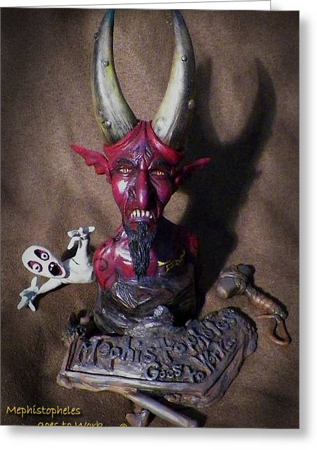 Souls Sculptures Greeting Cards - Mephistopheles Greeting Card by Billy Leslie