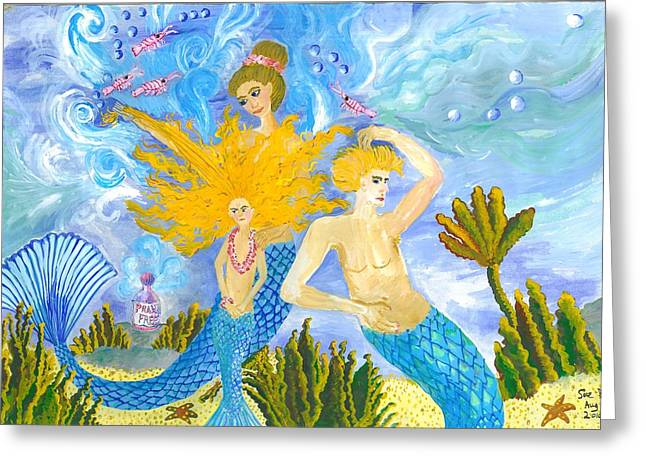 Nit Greeting Cards - Mer Mum and Comb Greeting Card by Sushila Burgess