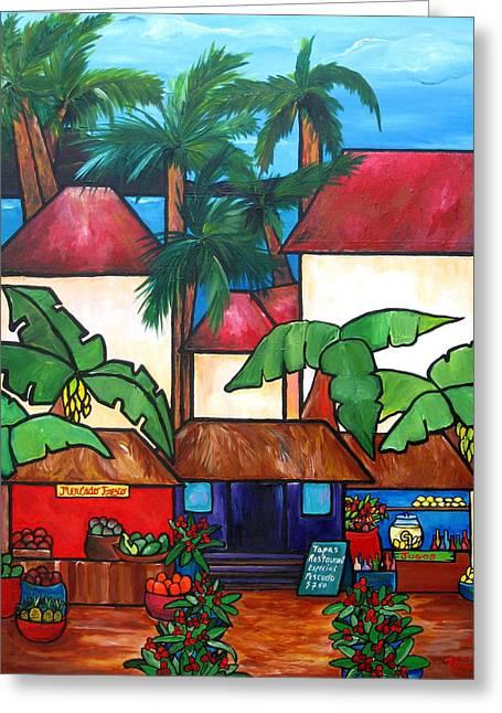 Fruit Tree Art Greeting Cards - Mercado en Puerto Rico Greeting Card by Patti Schermerhorn