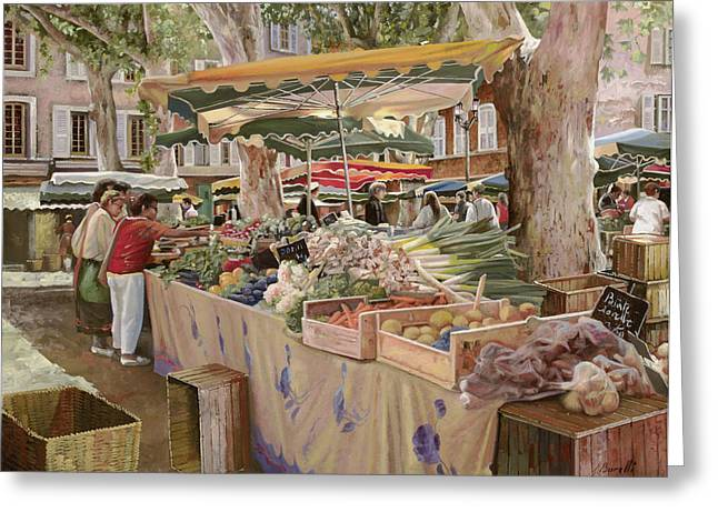 Market Square Greeting Cards - Mercato Provenzale Greeting Card by Guido Borelli