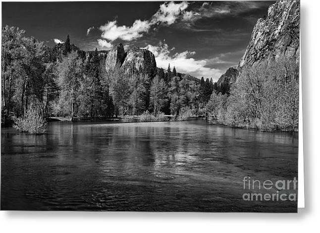 Merced river - black and white Greeting Card by Hideaki Sakurai
