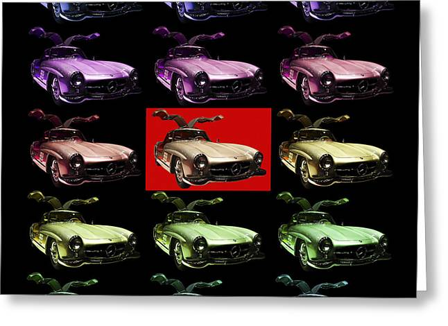 Mercedes 300sl Gullwing Greeting Cards - Mercedes 300SL Gullwing . Front Angle 2 Artwork Greeting Card by Wingsdomain Art and Photography