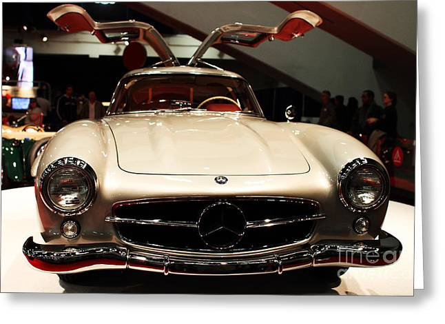 Mercedes 300sl Gullwing Greeting Cards - Mercedes 300SL Gullwing . Front View Greeting Card by Wingsdomain Art and Photography