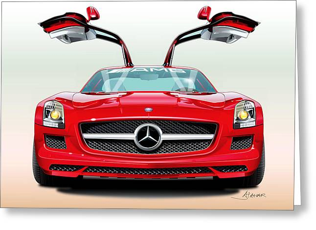 Automotive Illustration Greeting Cards - Mercedes Amg Sls Greeting Card by Alain Jamar