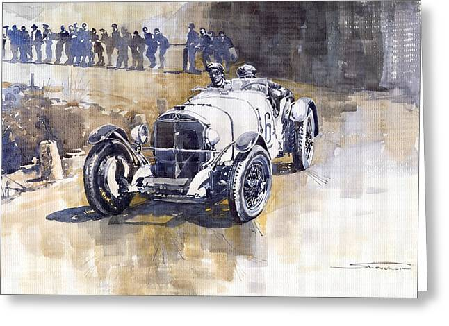 Watercolour Paintings Greeting Cards - Mercedes Benz SSK 1930 Rudolf Caracciola Greeting Card by Yuriy  Shevchuk