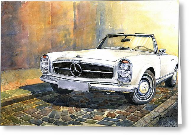 Vintage Auto Greeting Cards - Mercedes Benz W113 280 SL Pagoda Front Greeting Card by Yuriy  Shevchuk