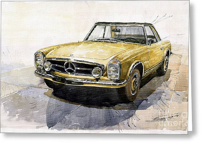 Cars Greeting Cards - Mercedes Benz W113 Pagoda Greeting Card by Yuriy  Shevchuk