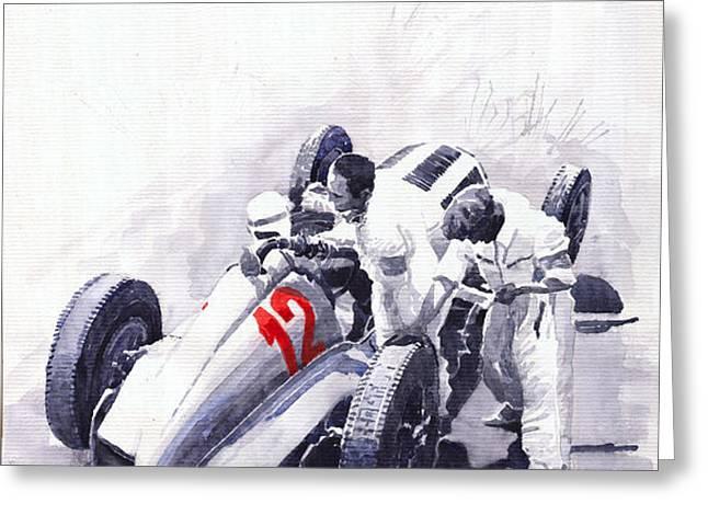 Mercedes Benz W125 Rudolf Caracciola the German Grand Prix Nurburgring 1937  Greeting Card by Yuriy  Shevchuk