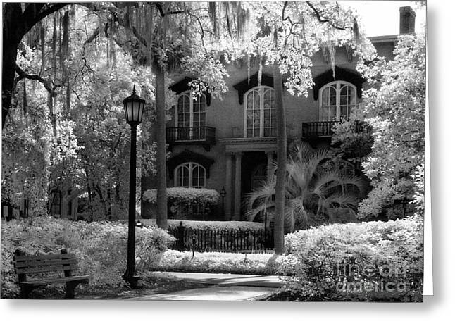 Savannah Infrared Photography Greeting Cards - Mercer Williams House Greeting Card by Jeff Holbrook