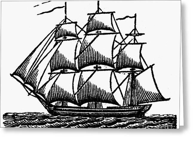 Ocean Sailing Greeting Cards - MERCHANT SHIP, c1800 Greeting Card by Granger