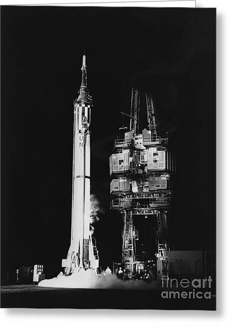 Mercury-redstone 3 Missile On Launch Greeting Card by Stocktrek Images