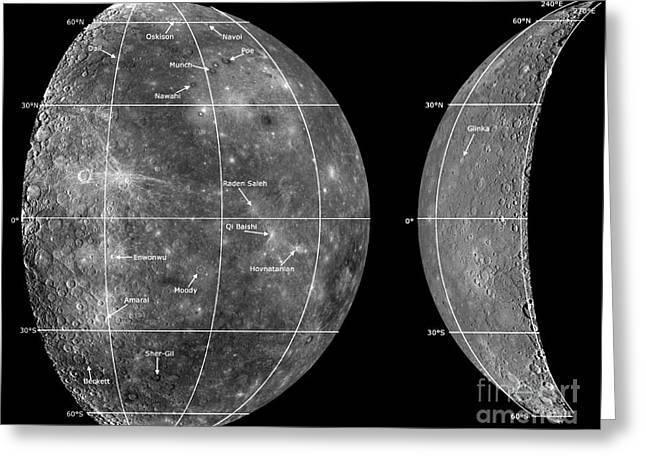 Qi Greeting Cards - Mercurys Newly Named Craters Greeting Card by Nasa