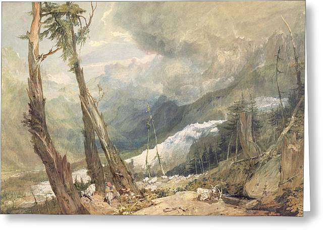 Paper Valley Greeting Cards - Mere de Glace - In the Valley of Chamouni Greeting Card by Joseph Mallord William Turner