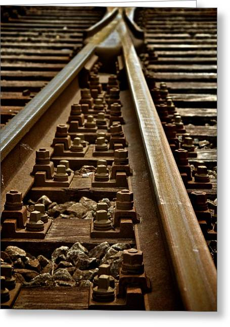 Train Line Greeting Cards - Merge Greeting Card by Odd Jeppesen