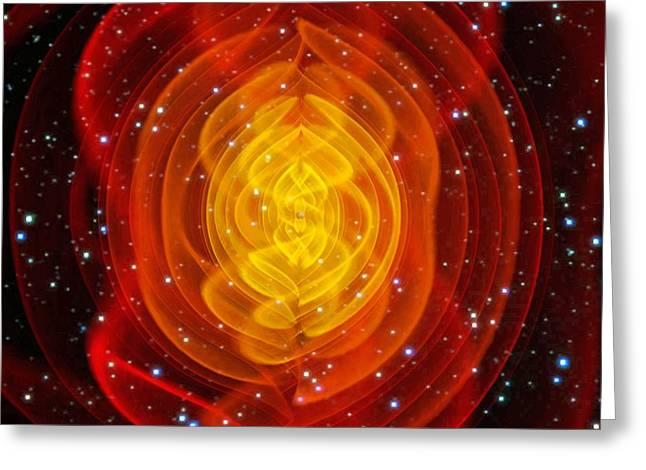 Merged Photographs Greeting Cards - Merged Black Holes Greeting Card by Chris Henzenasa
