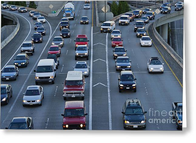 Merged Photographs Greeting Cards - Merging Traffic Greeting Card by Jeremy Woodhouse