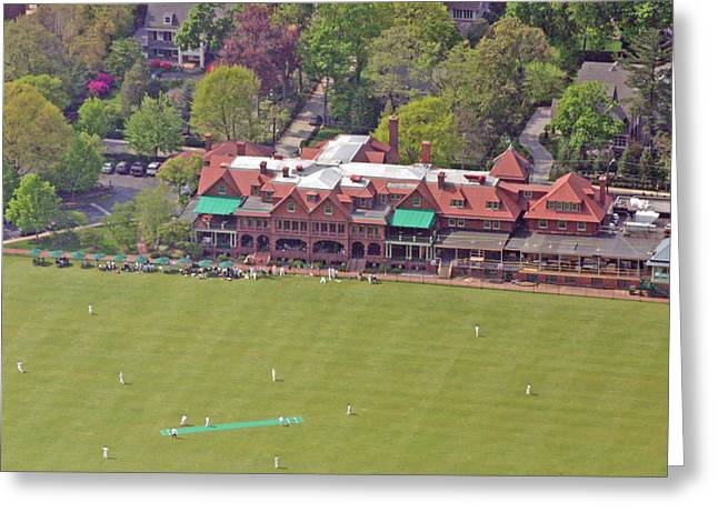 Cricket Aerial Greeting Cards - Merion Cricket Club Cricket Festival Clubhouse Greeting Card by Duncan Pearson