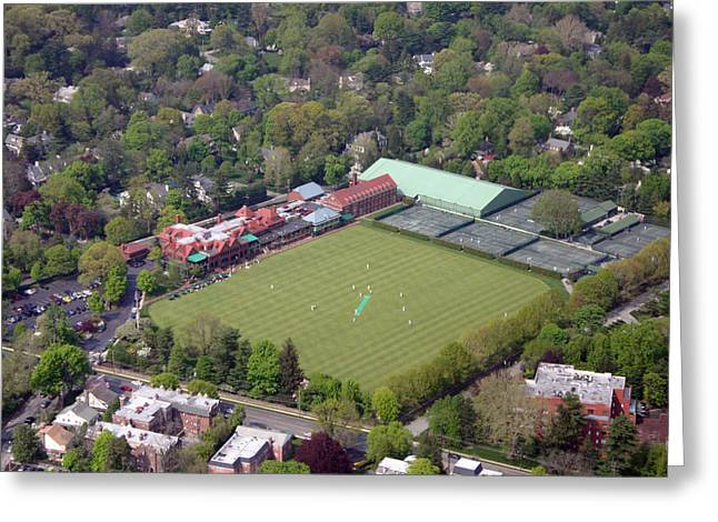 Cricket Aerial Greeting Cards - Merion Cricket Club Cricket Festival Greeting Card by Duncan Pearson