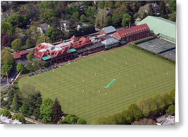 Cricket Aerial Greeting Cards - Merion Cricket Club PICF Greeting Card by Duncan Pearson