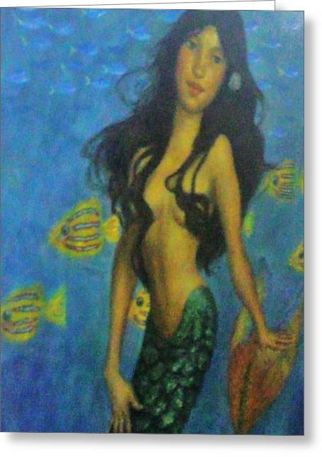 Fantasy Realistic Still Life Paintings Greeting Cards - Mermaid Greeting Card by Alexandro Rios