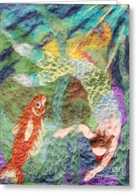 Wool Tapestries - Textiles Greeting Cards - Mermaid and Fish Greeting Card by Nicole Besack