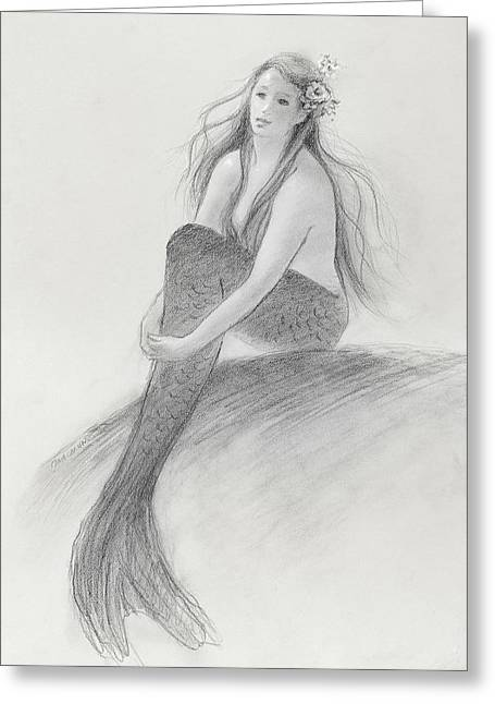 Sunbathing Greeting Cards - Mermaid Christina in the sunshine Greeting Card by Tina Obrien