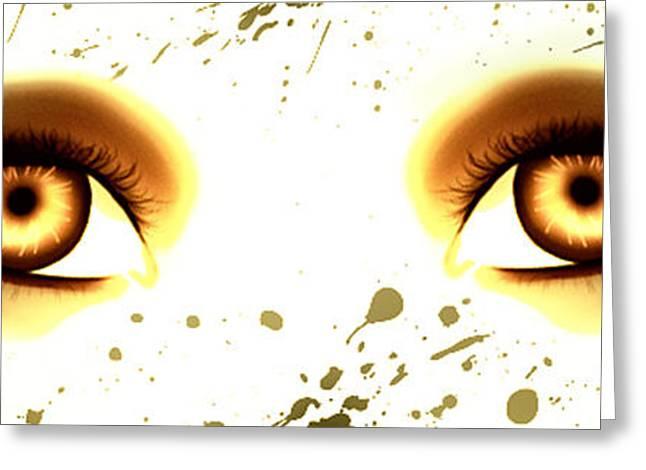 Majic Greeting Cards - Mermaid Eyes of Gold Greeting Card by Amanda Yauch