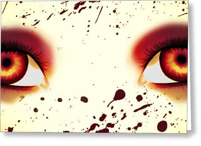 Majic Greeting Cards - Mermaid Eyes of Red Greeting Card by Amanda Yauch