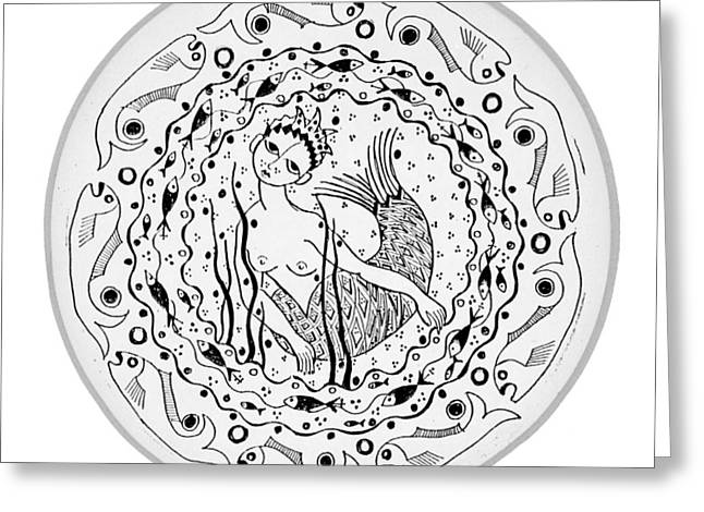 Alga Drawings Greeting Cards - Mermaid in black and white round circle with water fish tail face hands  Greeting Card by Rachel Hershkovitz