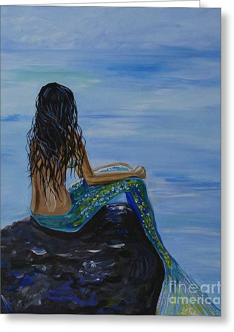 Picture Of Mermaids Greeting Cards - Mermaid Magic Greeting Card by Leslie Allen