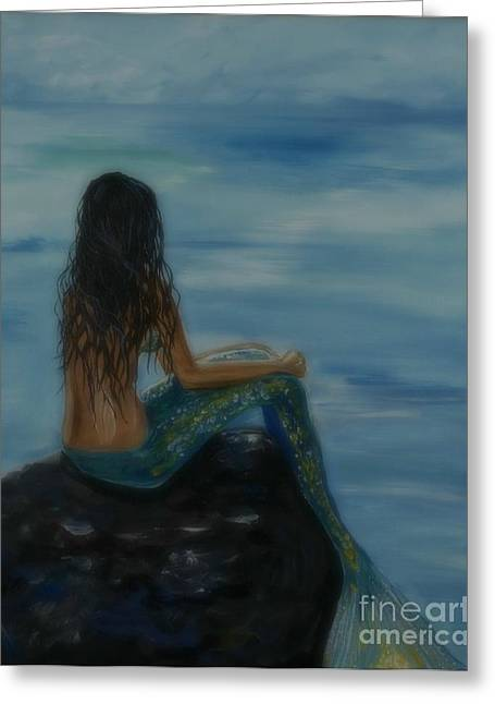 Mermaid Poster Greeting Cards - Mermaid Mist Greeting Card by Leslie Allen