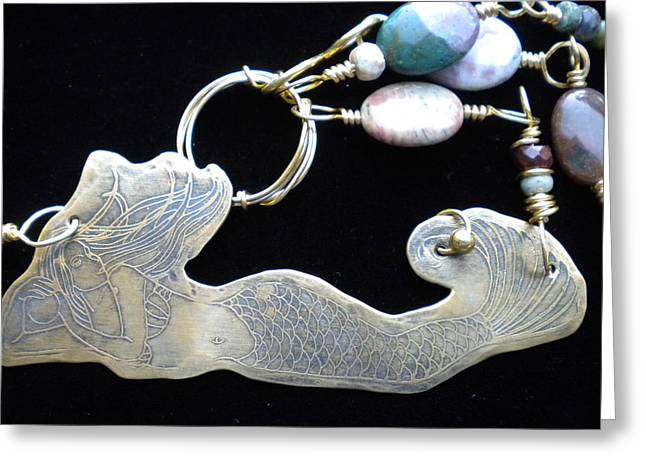 Extinct And Mythical Jewelry Greeting Cards - Mermaid necklace Greeting Card by Theresa Lemal