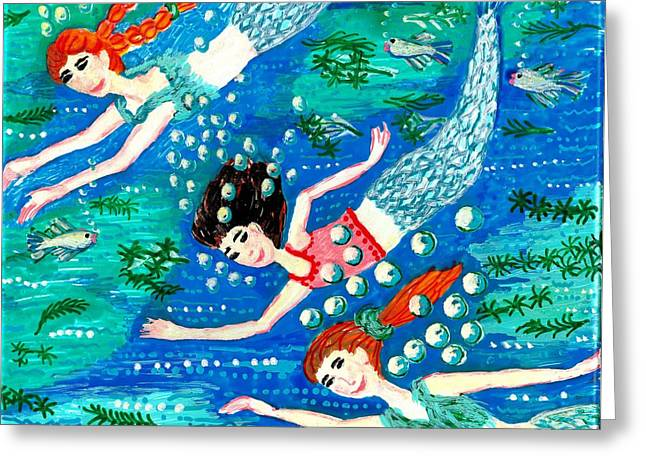 Illustrations Ceramics Greeting Cards - Mermaid race Greeting Card by Sushila Burgess