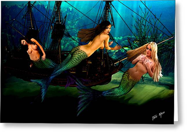 Aquatic Mixed Media Greeting Cards - Mermaid Shipwreck  Greeting Card by Tray Mead