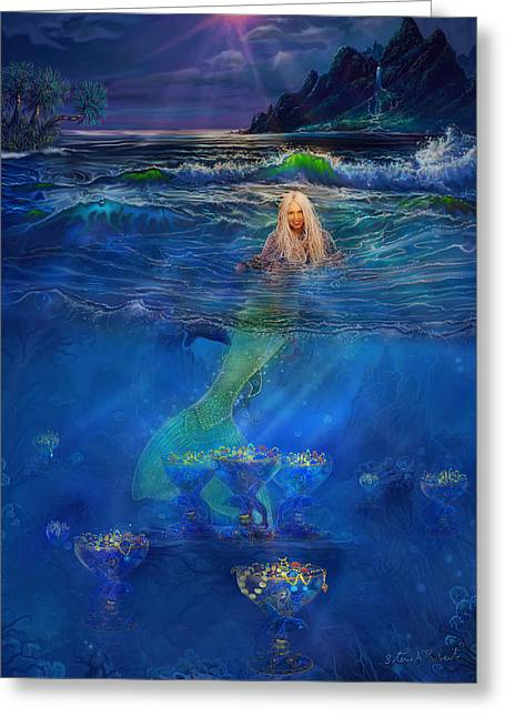 Mermaid Poster Greeting Cards - Mermaid Greeting Card by Steve Roberts