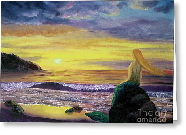 Best Sellers -  - Half Moon Bay Greeting Cards - Mermaid Sunset Greeting Card by Laura Iverson