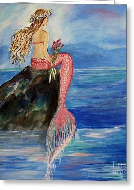 Print On Canvas Greeting Cards - Mermaid Wishes Greeting Card by Leslie Allen