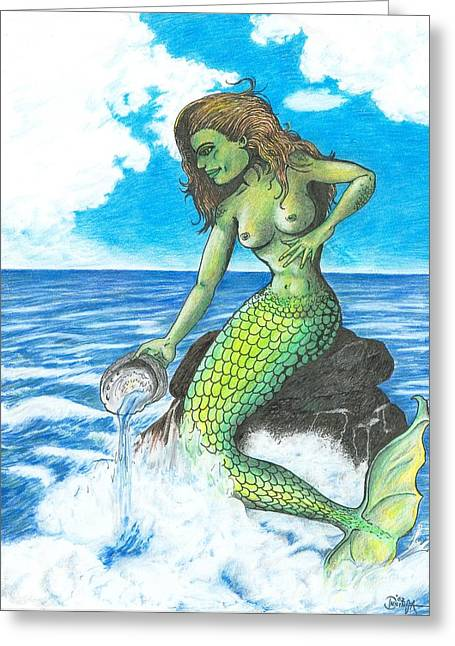 Fantasy Creatures Pastels Greeting Cards - Mermaid With Abalone Shell Greeting Card by Frank Insinga