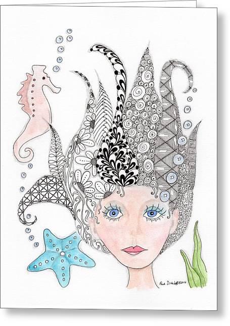 Paula Dickerhoff Greeting Cards - Mermaiden Greeting Card by Paula Dickerhoff