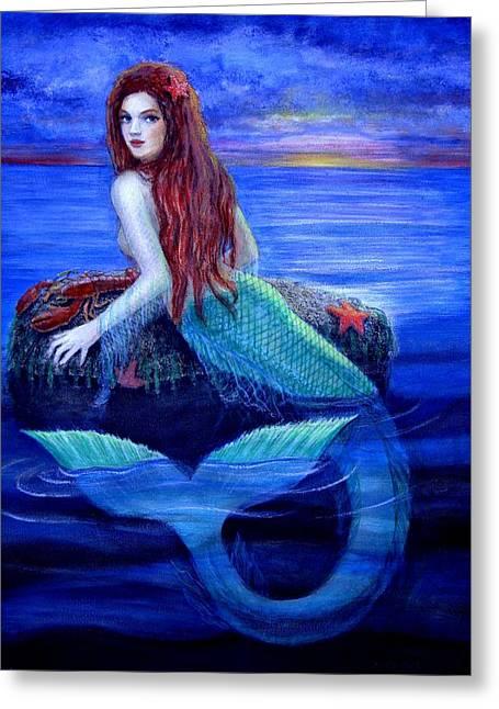 Mermaid Fantasy Art Greeting Cards - Mermaids Dinner Greeting Card by Sue Halstenberg