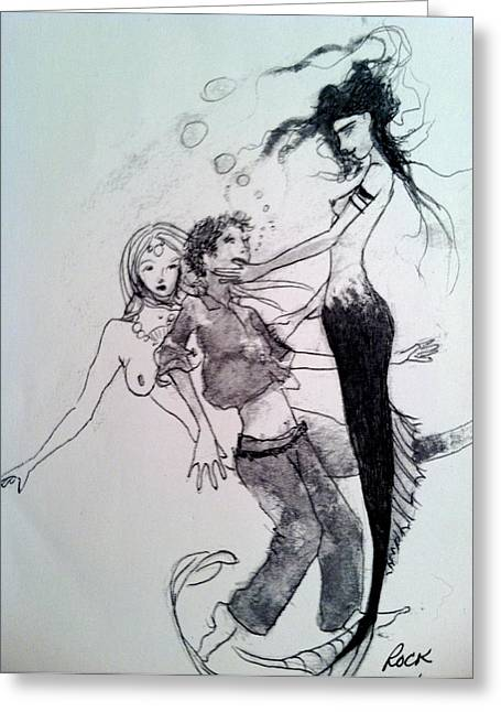 Mermaids Sailor Sketch Greeting Cards - Mermaids Greeting Card by Jackie Rock